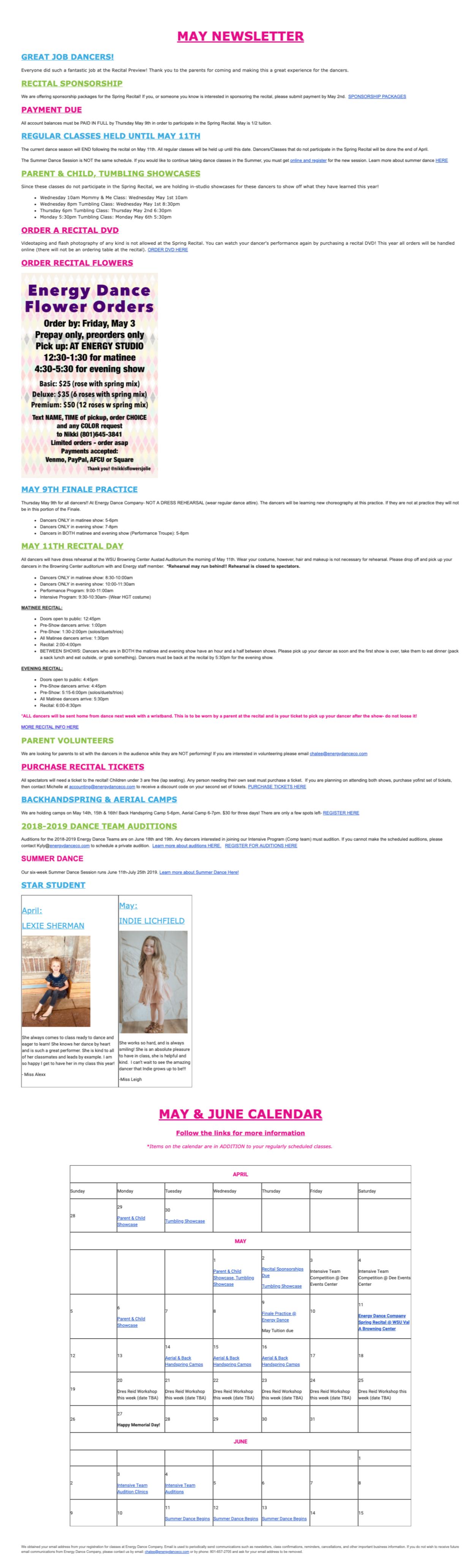 Parent Portal | Energy Dance Company